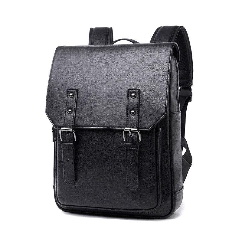 New Men Backpacks Black Leather Schoolbags For Teenagers Women School Bag Waterproof Casual Rucksack Travel Shoulder Bag