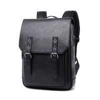 New Men Backpacks Black Leather Schoolbags For Teenagers Women School Bag Waterproof Casual Rucksack Outdoor Travel