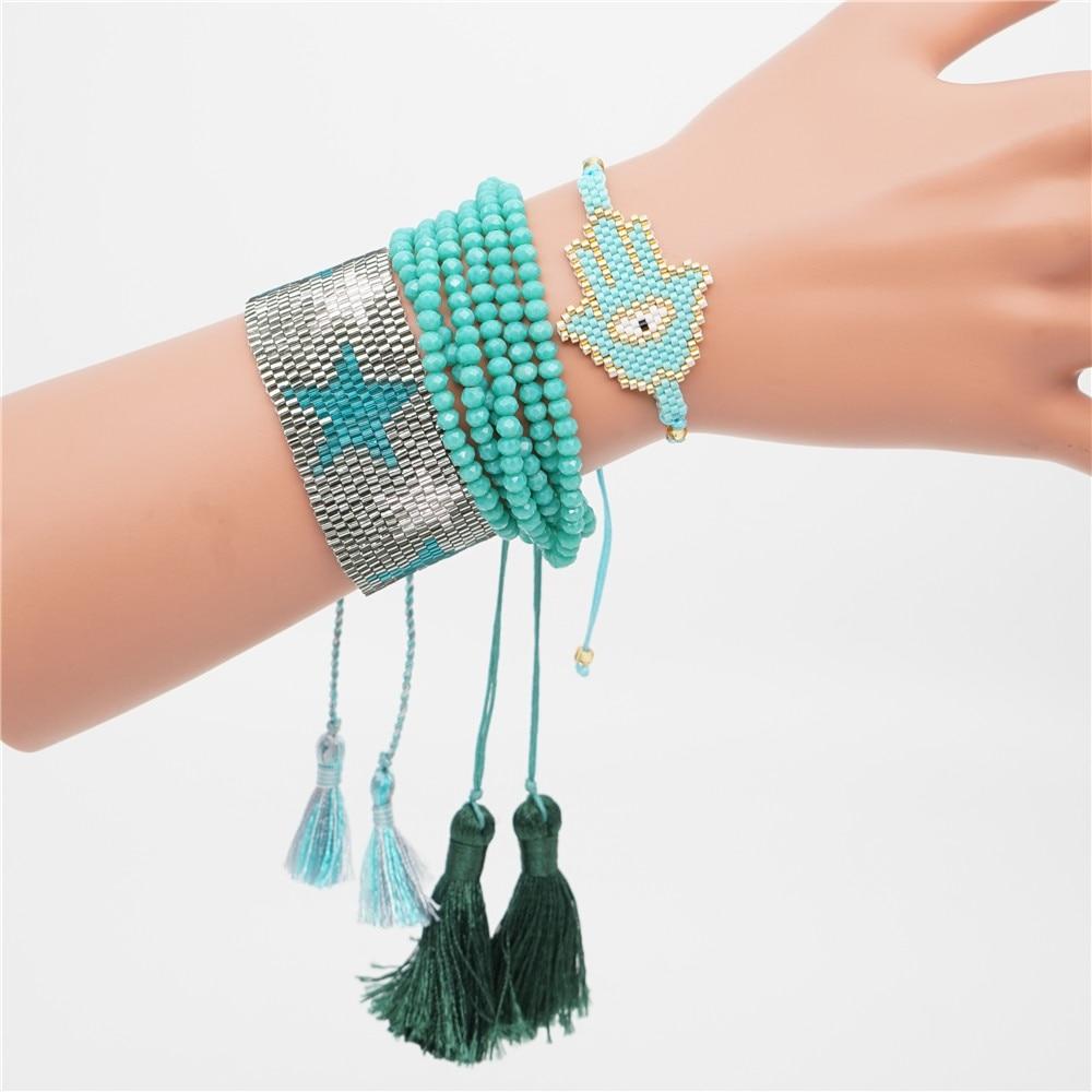 Shinus MIYUKI Bracelet Evil Eye Delica Seed Beads Bracelets For Women Miyuki Bileklik Insta Fashion Boho Chic Style 2019 Girls in Charm Bracelets from Jewelry Accessories
