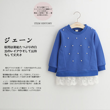 Direct manufacturers in the autumn of 2016 the new children's wear nail bead lace hem fleece of the girls