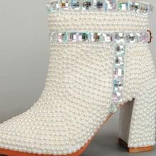 Crystal Bridal Wedding Boots Chunky Heel Beautiful Wedding Bride White Shoes Nightclub Party Womens Pumps Winter Fashion Boots