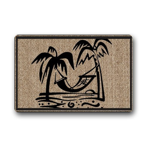 Evergreen Fashion Welcome Palm Tree Machine Washable Durable Doormat  Heat Resistant Door Mat Gate