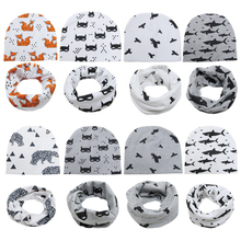 1Pcs Baby Hat Neck Scarves Animal Print Cotton Girl Boy Beanie Scarf Toddler Infant Kids Caps Cartoon Knit Bonnet Accessories