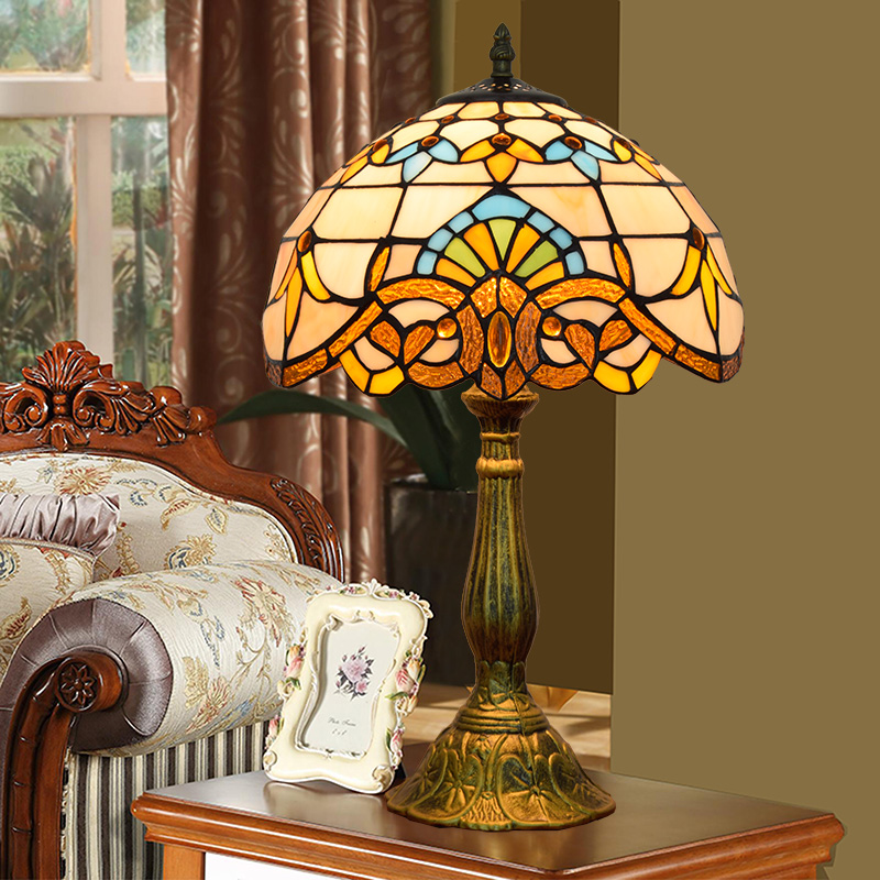 ODIFF European style retro creative color glass Bedroom bedside lamp Baroque Soldering lamp Bar and restaurant lights 110-240V