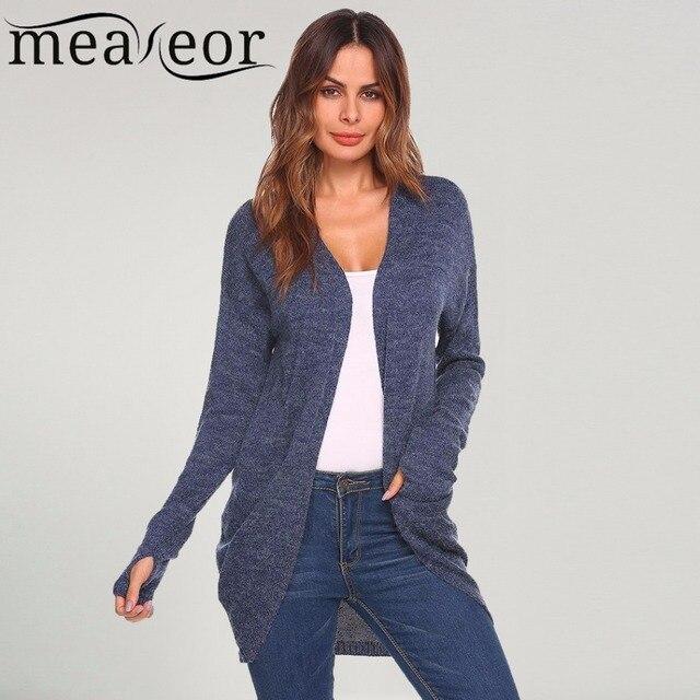 5efca3784d1e93 Meaneor 2018 Herbst Mode Frauen Strickjacke Pullover Daumen Loch Langarm  Solide Öffnen Front Taschen Winter Pullover