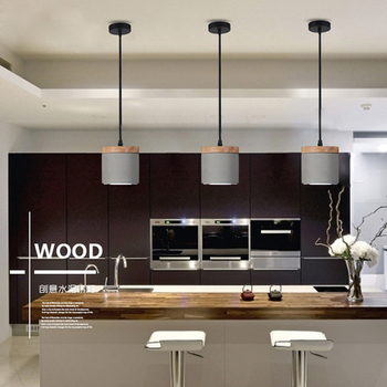 Nordic Dining Room Decor LED Cement Wood Pendant Lights Modern Industrial Wind Home Indoor Light Fixtures Hanging Lamp Luminaria