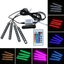 12V Car RGB LED DRL Strip Light Car Auto Remote Control Interior Floor Decorative Flexible LED Strip Atmosphere Lamp Fog Lamp