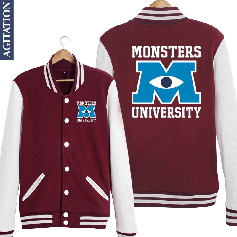 Monster University MU Movie Print Women/Men Long Sleeve Baseball Jacket Fleece Hoodies Coat Jersey Winter Sweatshirts