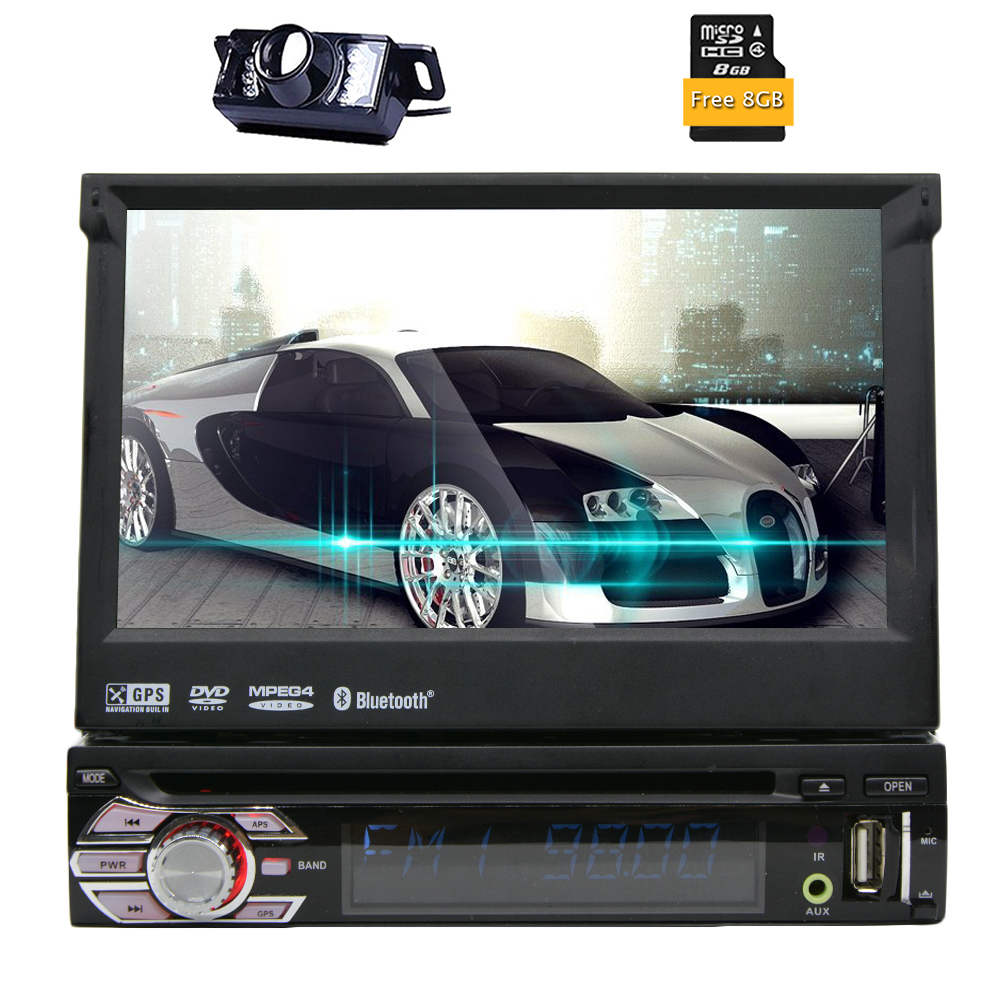7 Single 1 DIN Car CD DVD Player GPS Navigation Bluetooth HD Touch Stereo Radio Autoradio ipod USB SD Logo+Free Camera+8GB MAP image