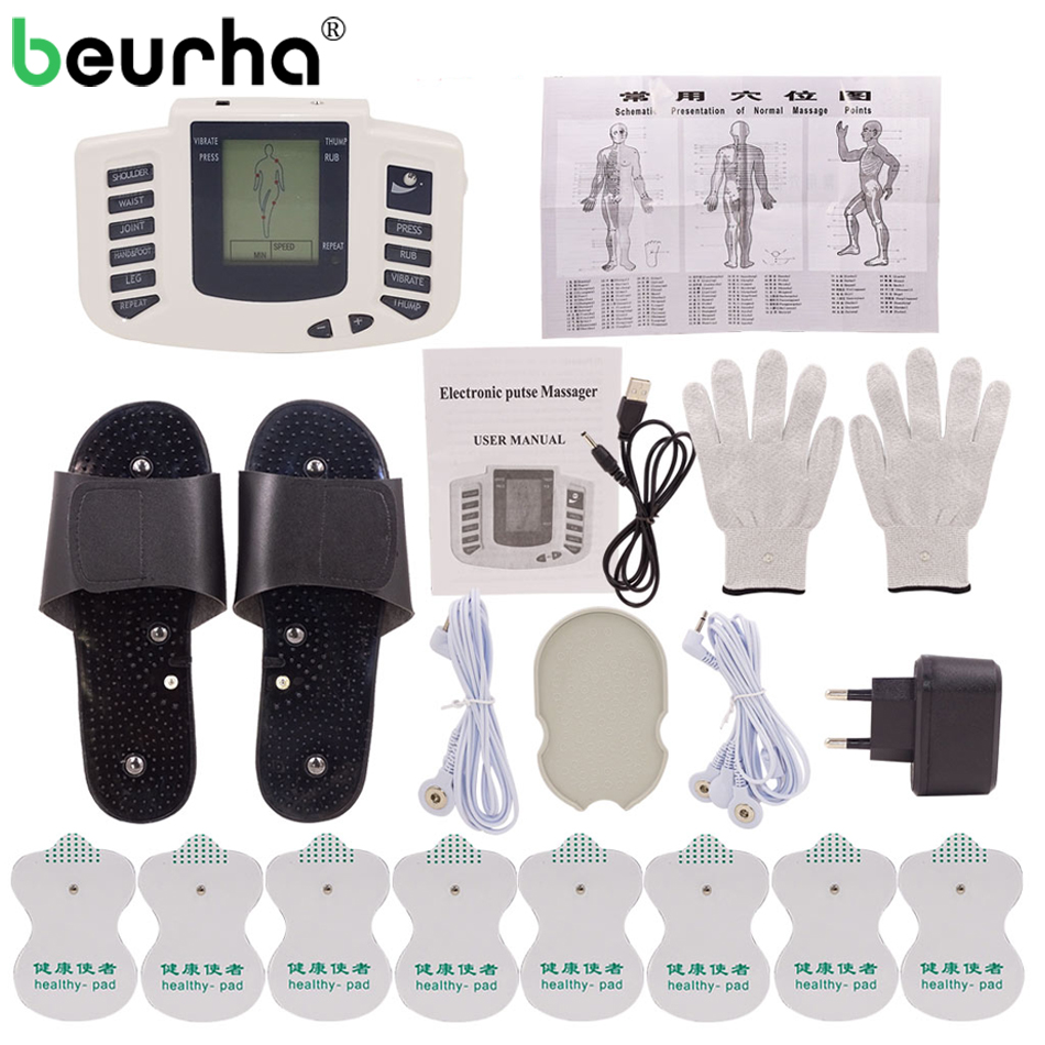 1 Set Stimulator Full Body Relax Muscle Massager Pulse Tens Acupuncture Therapy Slippers Gloves With 16PCS Electrode Pads 1 set stimulator full body relax muscle massager pulse tens acupuncture therapy slippers gloves with 16pcs electrode pads