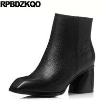 женский пол черный Квадратный носок ботильоны элегантный коренастый на каблуке Женские ботинки зима 2017 Настоящая кожа блок обувь короткая батильоны новый мода китайский женская