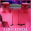 Ladycrystal Personalizado Adorável Rosa Tampa de Assento Do Estilo Do Carro de Cristal de Diamante de Couro Auto Almofada Do Assento de Carro Cobre Para BMW Para Benz