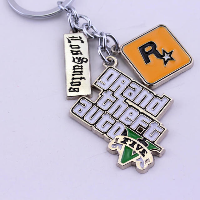 Game PS4 GTA 5 Grand Theft Auto 5 Keychain Key Chain For Men Fans Letter Grand Theft Autob Rock star Keychain Key Buckles 5