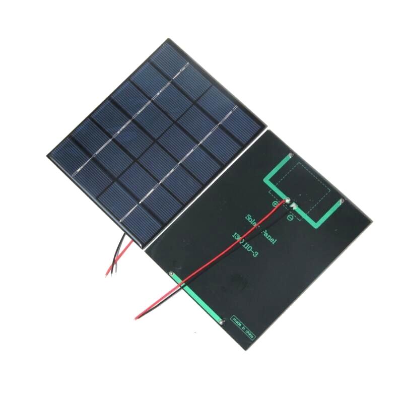 BUHESHUI Wholesale 100PCS Lot Mini Solar Cell With 15CM Cable 2W 6V Epoxy Solar Panel DIY
