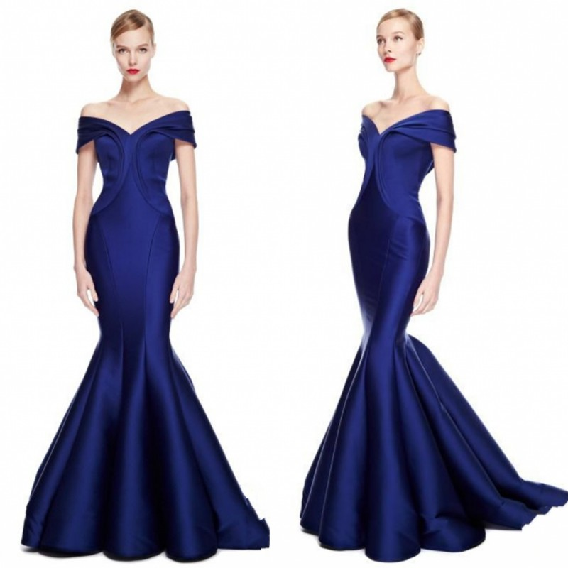 Royal Blue Evening Gown Pleats Long Elegant abiye robe de soiree longue Off Shoulder Formal Dresses