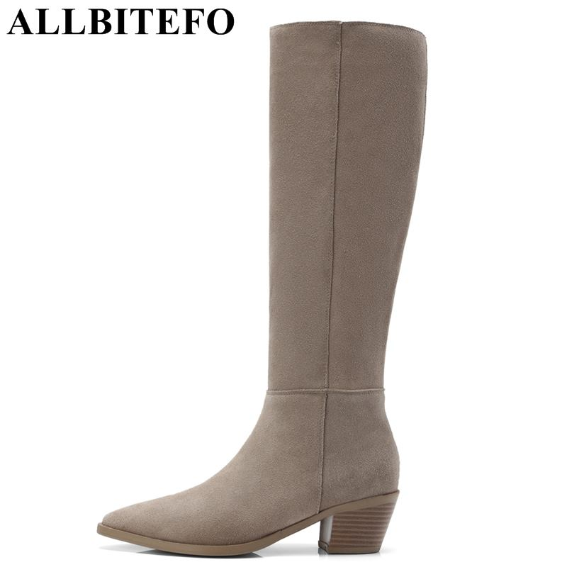 ALLBITEFO brand natural genuine leather women boots 2018 new arrival winter fashion girls knee high long boots thigh high boots allbitefo natural genuine leather women boots high quality winter girls knee high long boots fashion thigh high boots for woman