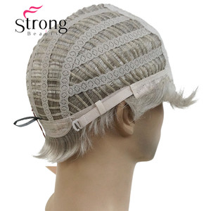 Image 5 - StrongBeauty קצר כסף אפור פאה Mens קצר סינטטי שיער פאות צבע אפשרויות