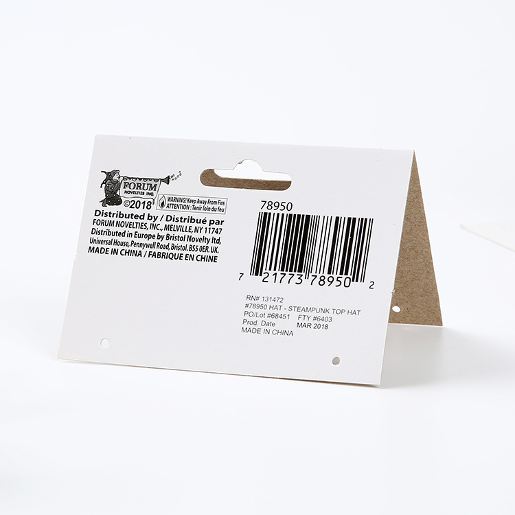 Thick printed header card full color any size display hanging card packaging and labeling