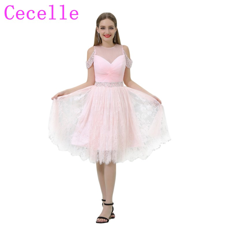2019 New Short Pink   Cocktail     Dress   With Ruched Bodice Beaded Waist Lace Skirt A-line Knee Length Cold Shoulers Party   Dress