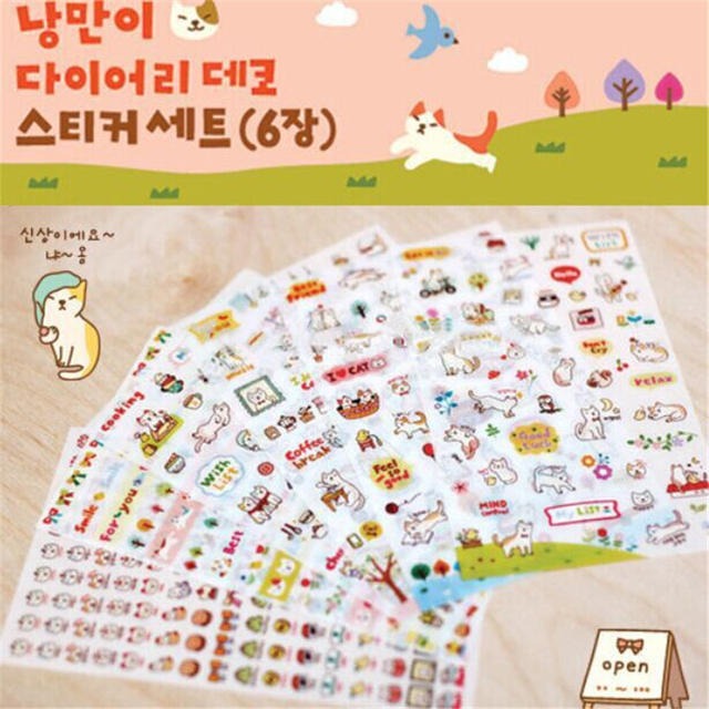 6 sheets/Set Creative Cute Cat PVC Sticker for DIY Scrapbooking Diary Phone Sticker Products Design Paster Kawaii Stationary