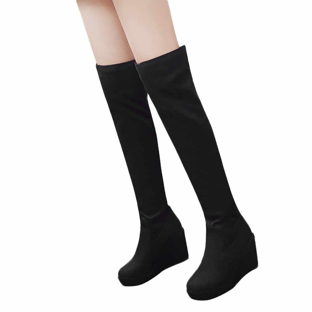 YOUYEDIAN kadın Moda Elastik Kuvvet Leopar Baskı Takozlar Ayakkabı Yuvarlak Ayak Uzun Çizmeler kadın yüksek deri çizme #25