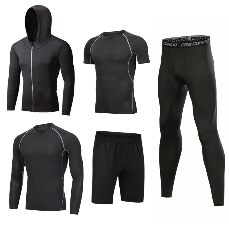 5PCS Mens Compression Running Sets Men Sports Suit Basketball Tights Suit Jogging Sport Tracksuit Breathable Gym