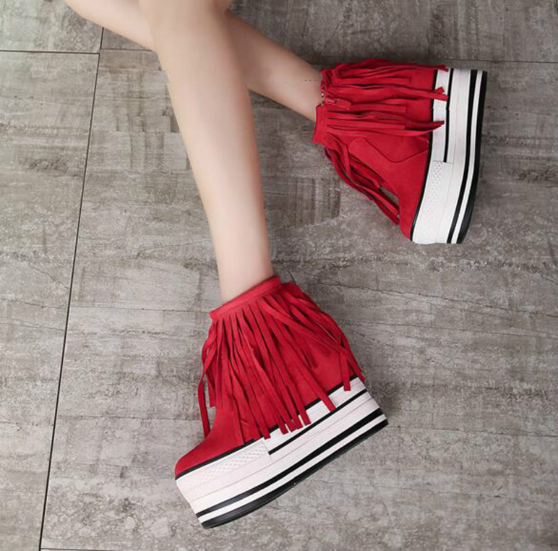 ФОТО 2017 new Korean fringed boots Autumn and winter plus velvet boots Within the slope with high boots Loose shoes