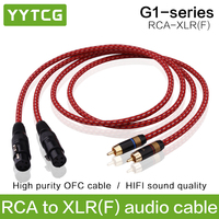 YYTCG Hifi 2RCA Male to 2XLR Female Audio Cable Hi end 4N OFC Dual XLR Female to Dual RCA Male Audio Wire