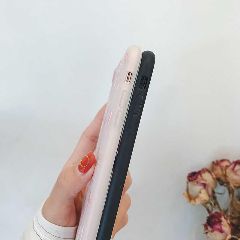 สำหรับ iphone XS Max สำหรับ iphone X XR 8 7 6 S 6 Plus Retro ดอกไม้กรณี 3D ซิลิโคนบรรเทา Capa