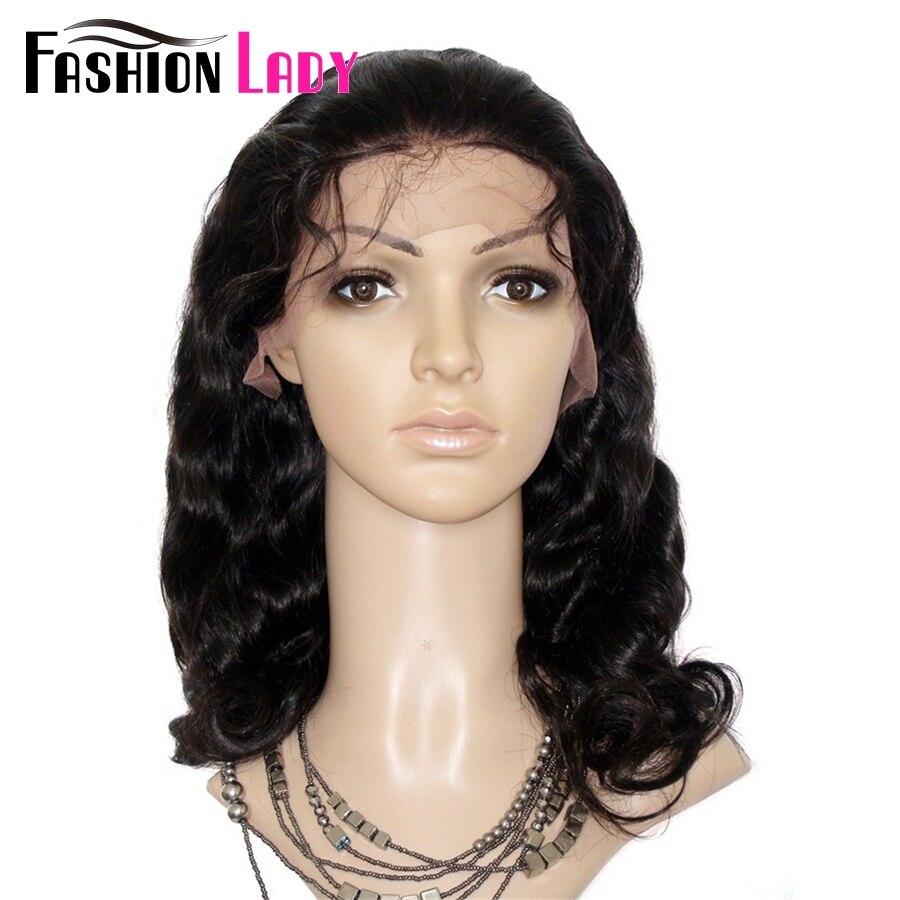 Модные женские бразильские волосы remy 14 дюймов 100% человеческих волос парики 150% плотность тела волна кружева передний парик для женщин - 4