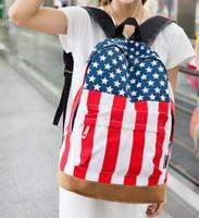 Mujeres Mochila 2016 nuevo famoso diseñador de la marca de moda bandera de REINO UNIDO EE.UU. bandera bolsa bolso de las mujeres de moda mochilas de Viaje mochila