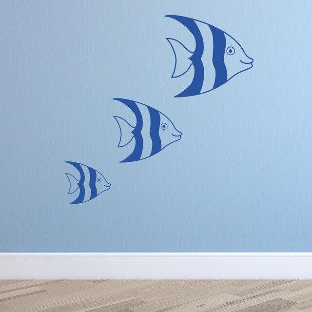 Set Of 3 Fish Under The Sea Wall Vinyl Decal Sticker Hearts Baby Girls Boy  Nursery