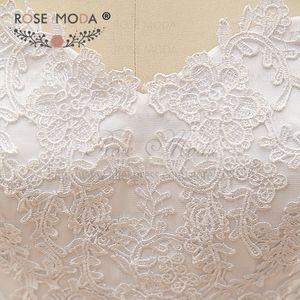 Image 5 - Vestido de boda de cintura baja encaje de Venecia de alta calidad con chaqueta de encaje de manga larga extraíble Corset Back Ball Gown fotos reales