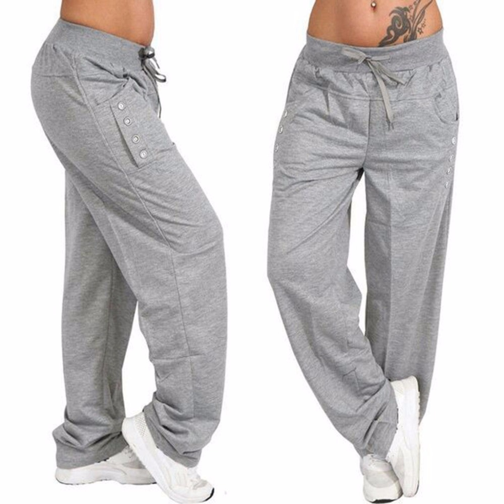 Oversized Women Pants Casual Autumn Sports Pants Button Drawsting Pockets Full Plus Sized Trouser Female New Grey Pants