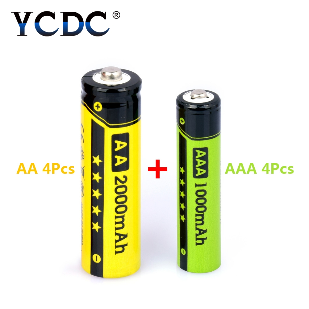 YCDC 8pcs=AA+AAA Rechargeable Batteries 1.2V NI MH 1000mAh ...