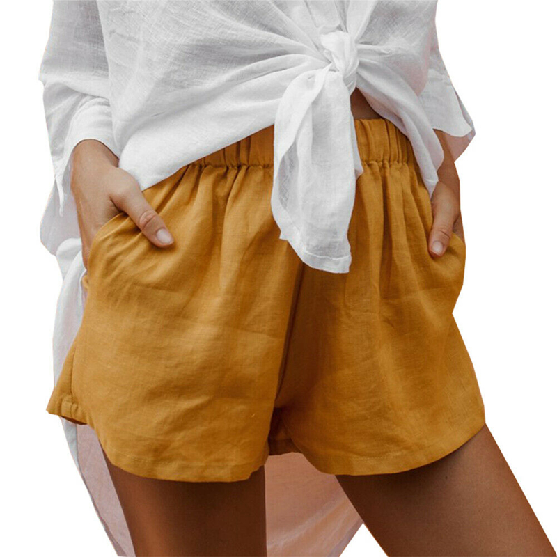 Womens Shorts Gym Workout Casual Sports Waistband Baggy Short Hotpants 2019 Summer Fashion Beach Ladies Loose Solid Clothes