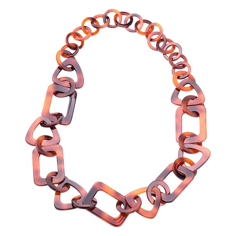 GuanLong Geometric Round Square Triangle Acrylic Long Chain Necklaces For Women Beautiful Dazzling Gift