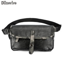 DIINOVIVO Camouflage Fanny Pack Leather Chest Bag Travel Female Bag Purse High Quality Waist Bags Unisex Coin Phone Bag WHDV1108