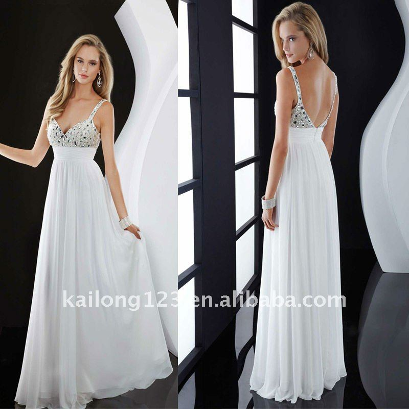 Gorgeous Spaghetti Strap Beaded Sequins White Prom Dress In Dresses From Weddings Events On Aliexpress Alibaba Group