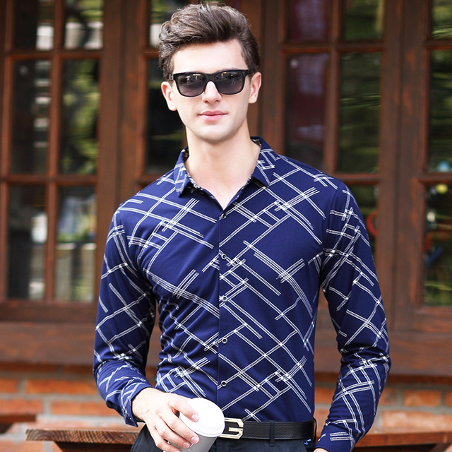 94fa5794e7 2016 New Fancy Simple Design Formal Dress Men s Stripes Long Sleeve Dress  Shirts