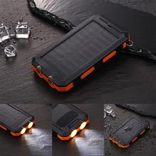 Portable Solar Power Bank Dual USB Powerbank 10000mAh Big Capacity Outdoor Solar-powered Mobile Charger With LED Emergency Light