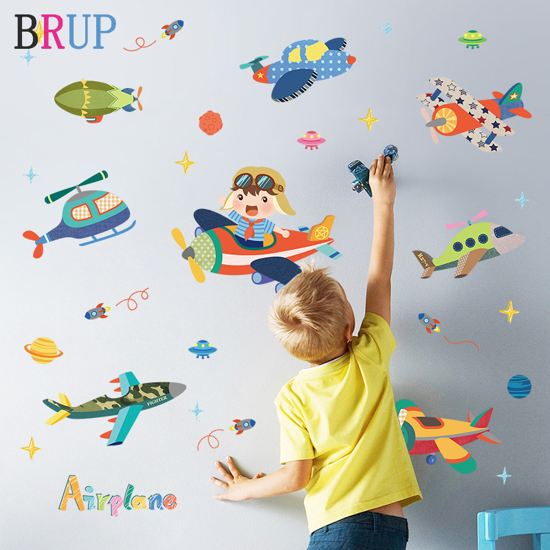 Cartoon Airplane Wall Sticker for Kids Room Home Decoration Wall Decals Self-adhensive Wall Stickers Murals Poster Nursery Room image