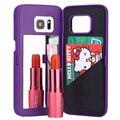 Dama de la moda de maquillaje espejo caja del teléfono flip caja de la carpeta para samsung galaxy s7 s7edge capa shell hu971