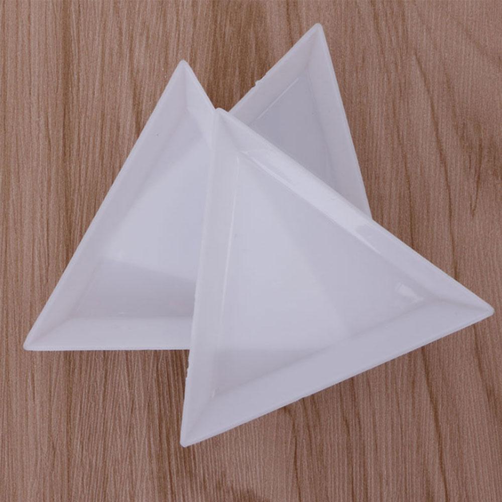 2/5pcs Nail Art Decoration Dotting Plastic Crystal Plastic Triangular Tray Rhinestone Diamond Stotrage Plate Manicure Tools