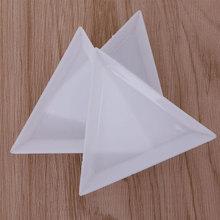 2/5pcs Nail Art Decoration Dotting Plastic Crystal Triangular Tray Rhinestone Diamond Stotrage Plate Manicure tools