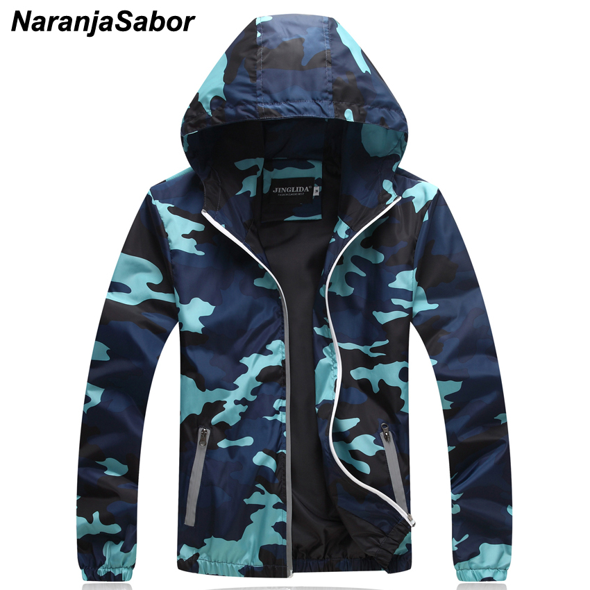 NaranjaSabor 2020 Spring Autumn Men's Camouflage Jackets Casual Hooded Slim Coat Fashion Male Camo Outerwear Brand Clothing N406