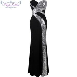 Image 1 - ארוך לנשף שמלת מלאך אופנת נשים של סטרפלס שתי וערב קלאסי בת ים המפלגה שמלת שחור לבן 331
