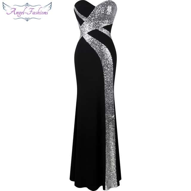 ארוך לנשף שמלת מלאך אופנת נשים של סטרפלס שתי וערב קלאסי בת ים המפלגה שמלת שחור לבן 331