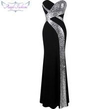 Długa suknia balowa Angel fashions damska bez ramiączek criss cross klasyczna sukienka syrenka na przyjęcie czarny biały 331