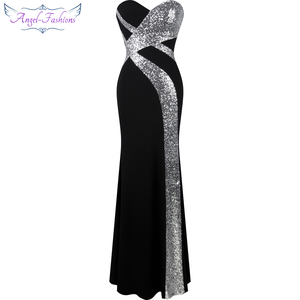 Long Prom Dress Angel-fashions Women's Strapless Criss-Cross Classic Mermaid Party Gown Black White 331